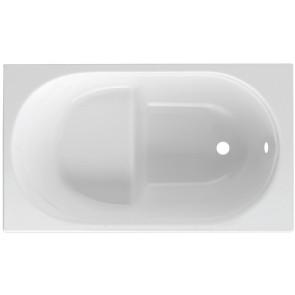 Guscio vasca rettangolare bianca mod. rubino con seduta cm 120 x 70 s/pannello