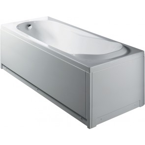 Vasca rettangolare bianca s/idromassaggio c/pannello mod. milo cm 160 x 70