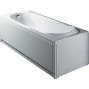 Vasca rettangolare bianca s/idromassaggio c/pannello mod. itaca cm 170 x 70
