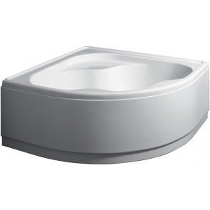 Guscio vasca angolare bianca con pannello mod. ambra cm 140 x 140