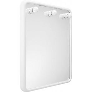 Specchio quadro con tre luci serie linea bianco