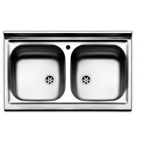 Lavello appoggio APELL acciaio inox 2 vasche 80 X 50