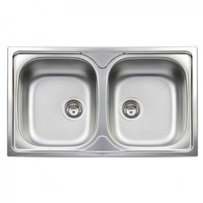 Lavello incasso APELL acciaio inox 2 vasche 86 x 50