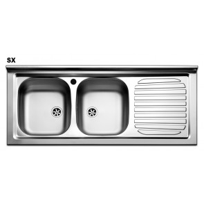 Lavello appoggio APELL acciaio inox 2 vasche a sinistra 120 x 50