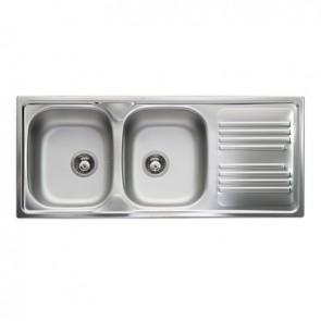 Lavello incasso in acciaio inox con 2 vasche cm 116 vasche dx