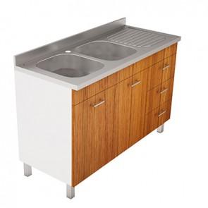 Lavello inox con mobile a cassetti e piedini mod. Pratika cm. 120 x 50 bianco sx