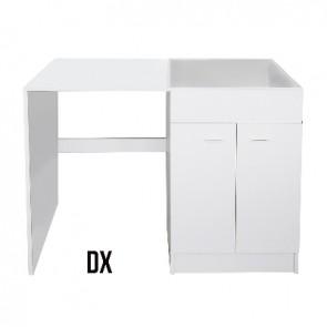 Sottolavello per lavastoviglie senza lavello inox per l. 120x60  bianco sx