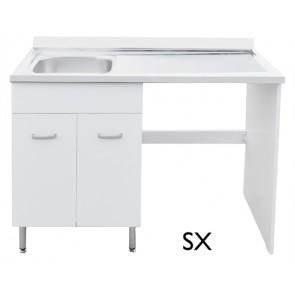 Sottolavello per lavastoviglie + lavello inox cm 60+60x h85 teak dx
