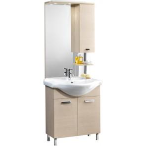 Mobile bagno modello karine con lavabo integrale e specchio cm 75 bianco laccato lucido