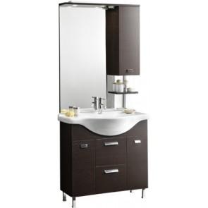 Mobile bagno modello karine con lavabo integrale e specchio cm 85 rovere moro