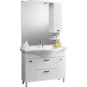 Mobile bagno modello karine con lavabo integrale e specchio cm 105 bianco laccato lucido