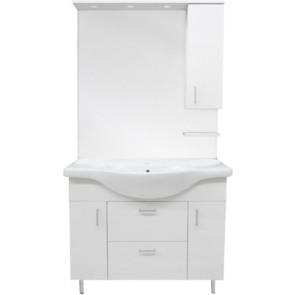 Mobile bagno mod. nicole con lavabo integrale e specchio cm 75 pino spazzolato