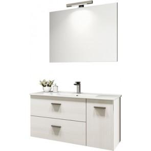 """Mobile bagno sospeso """"betty"""" con lavabo e specchio cm 90 larice bianco"""