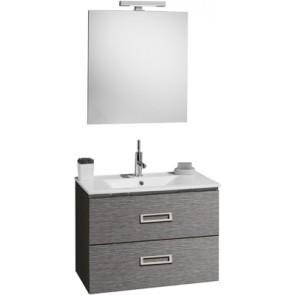 """Mobile bagno sospeso """"fantasy"""" con lavabo e specchio cm75 grigio matrix"""