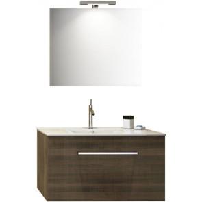 """Mobile bagno sospeso """"kio"""" con lavabo e specchio cm 90 noce tranchè"""
