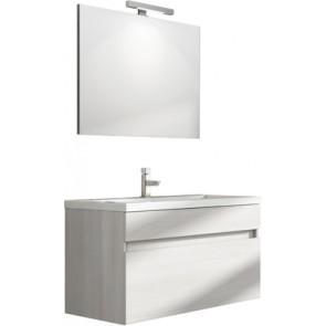 """Mobile bagno sospeso """"perseo"""" con lavabo e specchio cm 90 larice bianco"""