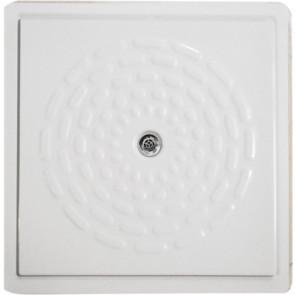 Piatto doccia filo pavimento in vetro resina con piletta 90 x 90