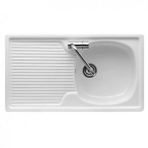 Lavello d' appoggio in ceramica con 1 vaschetta 80 x 45 cm 80 dx/sx