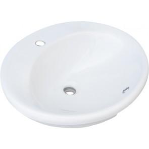 Lavabo sopra-piano con foro rubinetto cm 57x49 bianco