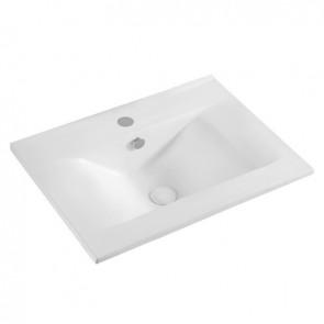 Lavabo sopra-piano con foro rubinetto cm 62x46 bianco