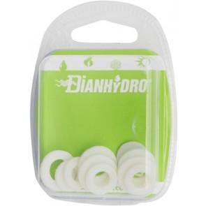 "Kit misto guarnizioni per sanitari ""platinum"" bianche mm2 blister pz.5x(3/8 - 1/2) + 2pz x(3/4)"