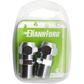 Nipples bicono cromato per cannette blister pz.2 x (1/2x3/8) diam. 12