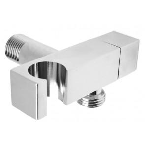 Supporto doccia design ottone cromo con arresto 1/2 m cromo