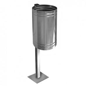 Cestino porta-rifiuti zincato con base