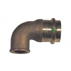 Gomito bronzo f x fil. f a 90° per acqua viega diam. 22 x 1/2