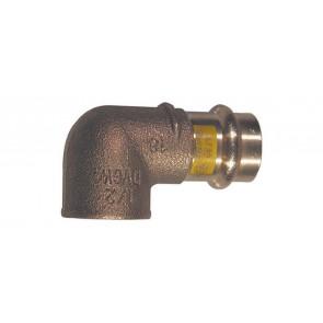 Gomito bronzo f x fil. f a 90° per gas viega diam. 15 x 3/4