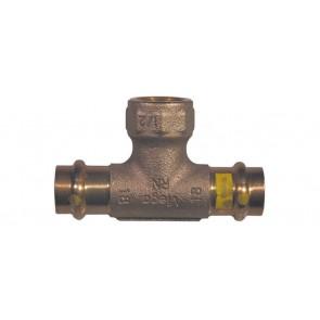 Raccordo bronzo a t f x fil. f per gas viega diam. 22 x 1/2 x 22