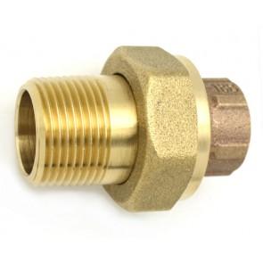 Bocchettone bronzo 3 pezzi m. a saldare 1/2 x 3/8