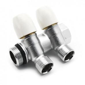 Collettore lineare con rubinetti d'arresto 2 derivazioni 3/4 x 1/2