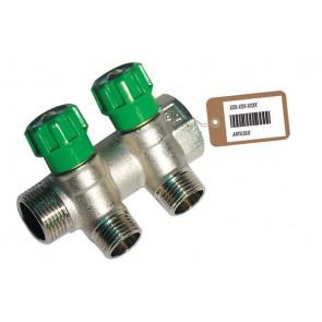 Collettore lineare con rubinetti d'arresto 2 derivazioni impex f-brico 3/4 x 1/2
