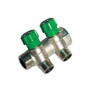 Collettore lineare con rubinetti d'arresto 2 derivazioni impex 3/4 x 1/2