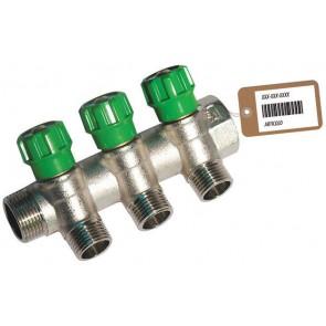Collettore lineare con rubinetti d'arresto 3 derivazioni impex f-brico 3/4 x 1/2