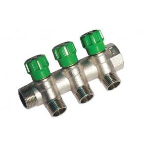 Collettore lineare con rubinetti d'arresto 3 derivazioni impex 3/4 x 1/2