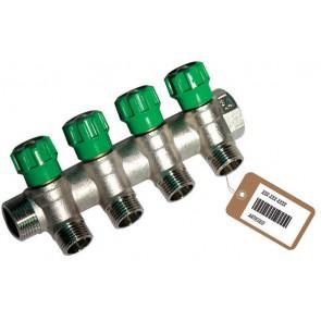 Collettore lineare con rubinetti d'arresto 4 derivazioni impex f-brico 3/4 x 1/2