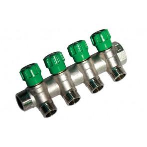 Collettore lineare con rubinetti d'arresto 4 derivazioni 3/4 x 1/2