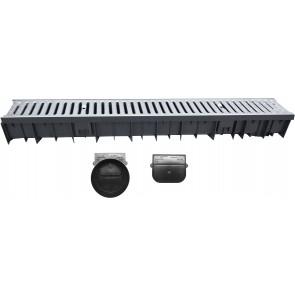 Canale wavedrain con griglia acciaio zincato + testata e scarico d.110 1000 mm