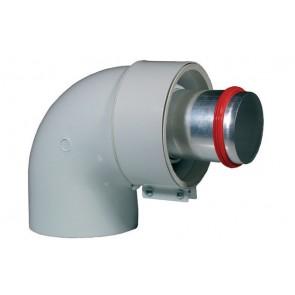 Curva 90° dn 60/100 c/raccordo dn 60 m.m. (coassiale) senza prese analisi fumi