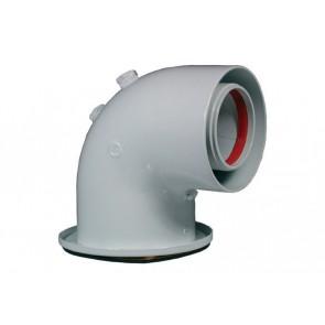 Curva 90° dn 60/100 c/flangia dn 128 (coassiale) con prese analisi fumi
