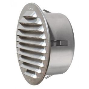 Griglia tonda in metallo da incasso con imbocco in plastica diametro 150 mm - imb. 115 mm
