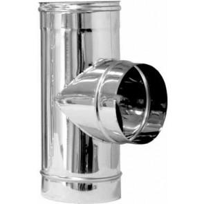 Tee acciaio ridotta 90° per canne fumarie diam. 200 x 80
