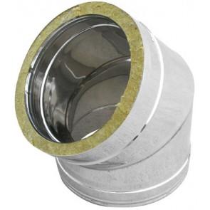 Curva in acciaio inox 316l a 45° doppia parete diam. 200x250
