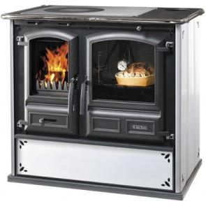Cucina a legna modello regina 631 kw steel 6.5 kw bianco puntinato