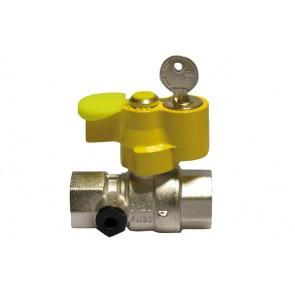Valvola a sfera gas ff con serratura e presa di pressione 3/4