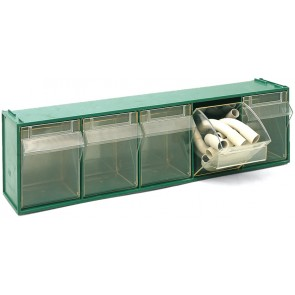 Cassettiera sovrapponibile in pp fox 103 - mm 600x135x h164 verde lxpxh mm 600x135x164